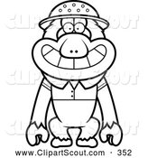 Clipart of a Coloring Page of a Black and White Macaque Monkey Explorer by Cory Thoman