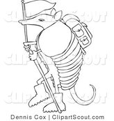 Clipart of a Coloring Page of a Hiker Armadillo with a Flag and Stick by Djart