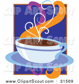 Clipart of a Cup of Hot Coffee on a Saucer by Maria Bell
