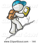 Clipart of a Curious Geocaching White Man Hiker Using a Gps Device by Leo Blanchette