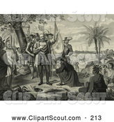 Clipart of a Curious Natives Watching a Man Kneeling and Bowing to Christopher Columbus and His Men upon Landing in the New World - Artwork by JVPD