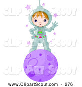 Clipart of a Cute and Friendly Astronaut Boy Waving and Standing on a Purple Planet by Pushkin