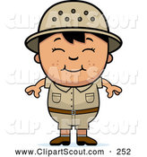 Clipart of a Cute and Happy Asian Safari Boy by Cory Thoman