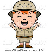 Clipart of a Cute and Happy Red Haired Safari Boy Cheering by Cory Thoman