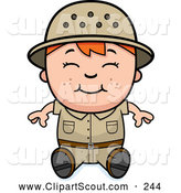 Clipart of a Cute and Happy Red Haired Safari Boy Sitting by Cory Thoman