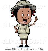 July 8th, 2013: Clipart of a Cute and Smart Black Safari Girl Holding up Her Finger and Expressing an Idea by Cory Thoman