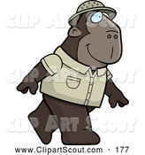 July 8th, 2013: Clipart of a Cute Ape Explorer Walking on His Hind Legs by Cory Thoman