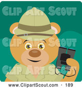 Clipart of a Cute Bear Explorer Character Holding Binoculars by Dennis Holmes Designs