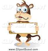 Clipart of a Cute Big Blue Eyed Monkey Holding a Sign by