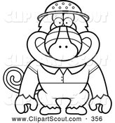 November 1st, 2013: Clipart of a Cute Black and White Baboon Monkey Explorer by Cory Thoman