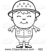 October 30th, 2013: Clipart of a Cute Black and White Happy Safari Boy by Cory Thoman