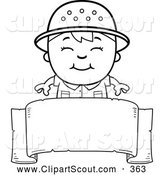 Clipart of a Cute Black and White Happy Safari Boy over a Blank Banner by Cory Thoman