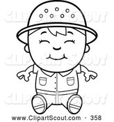Clipart of a Cute Black and White Happy Safari Boy Sitting by Cory Thoman