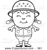 October 30th, 2013: Clipart of a Cute Black and White Happy Safari Girl by Cory Thoman
