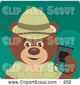 Clipart of a Cute Brown Bear Explorer Character by Dennis Holmes Designs