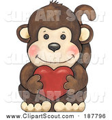 Clipart of a Cute Brown Monkey Holding a Valentine Heart by