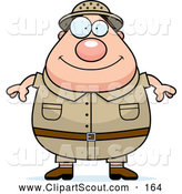 July 8th, 2013: Clipart of a Cute Chubby Safari Man by Cory Thoman