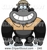 Clipart of a Cute Gorilla Explorer by Cory Thoman