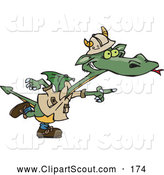 Clipart of a Cute Green Explorer Dragon Pointing to the Right by Dennis Holmes Designs