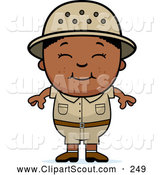 Clipart of a Cute Happy Black Safari Boy by Cory Thoman