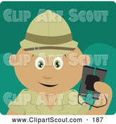 Clipart of a Cute Latin American Explorer Holding Binoculars on a Safari by Dennis Holmes Designs