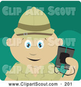 Clipart of a Cute Mexican Explorer Holding Binoculars on a Safari by Dennis Holmes Designs