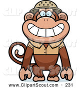 Clipart of a Cute Monkey Explorer by Cory Thoman