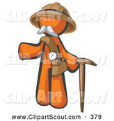Clipart of a Cute Orange Man Explorer with a Pack and Cane by Leo Blanchette