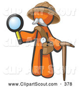 October 15th, 2013: Clipart of a Cute Orange Man Explorer with a Pack Cane and Magnifying Glass by Leo Blanchette