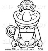 Clipart of a Cute Outlined Proboscis Monkey Explorer by Cory Thoman