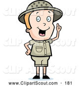 Clipart of a Cute Safari Boy Holding up a Finger and Expressing an Idea by Cory Thoman
