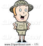 Clipart of a Cute Safari Boy Standing with His Hands on His Hips by Cory Thoman