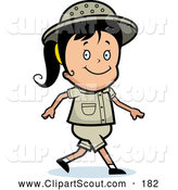 Clipart of a Cute Safari Girl Smiling and Walking by Cory Thoman
