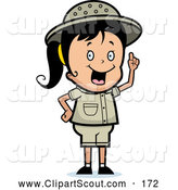 Clipart of a Cute Safari Girl with an Idea by Cory Thoman