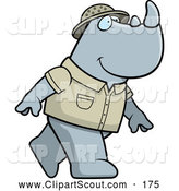 Clipart of a Cute Safari Rhino Walking on His Hind Legs by Cory Thoman