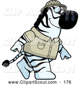 Clipart of a Cute Safari Zebra Walking on His Hind Legs by Cory Thoman