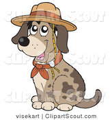 Clipart of a Cute Spotted Dog Sitting and Wearing a Scout Hat by Visekart