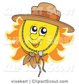 Clipart of a Cute Summer Sun Wearing a Scout Hat by Visekart