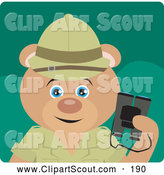 Clipart of a Cute Teddy Bear Explorer Character Holding Binoculars by Dennis Holmes Designs