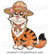 Clipart of a Cute Tiger Cat Wearing a Scout Hat by Visekart