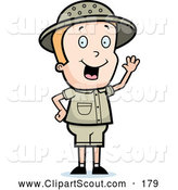 July 8th, 2013: Clipart of a Cute Waving Blond Safari Boy by Cory Thoman