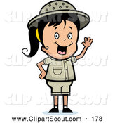 July 8th, 2013: Clipart of a Cute Waving Happy Safari Girl by Cory Thoman