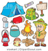 Clipart of a Digital Collage of a Smiling Camper and Camping Gear by Visekart
