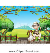 Clipart of a Dog and Asian Explorer Boy on a Boardwalk by Graphics RF