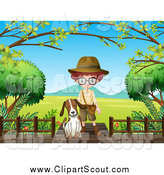 Clipart of a Dog and Explorer Boy on a Boardwalk over a Valley by Graphics RF