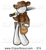 Clipart of a Exciting White Explorer Man Carrying a Machete by Leo Blanchette