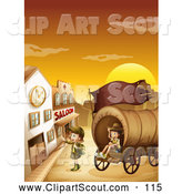Clipart of a Explorer Children with a Covered Wagon in a Ghost Town at Sunset by Graphics RF