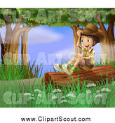 Clipart of a Explorer Scout Boy Sitting on a Forest Log by Graphics RF