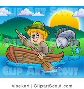 Clipart of a Fish Jumping out of the Water near a Blond Scout Boy Rowing a Boat by Visekart