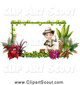 Clipart of a Friendly Asian Explorer Boy Sitting in a Garden Frame by Graphics RF